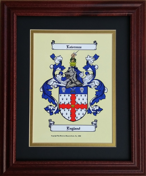 Small Coat Of Arms Framed Old World Family Names